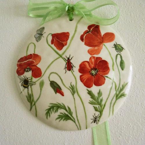 Plaque porcelaine aux coquelicots